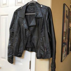 Black Rivet Faux Leather Moto Jacket